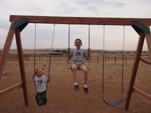More fun on the new swing set.